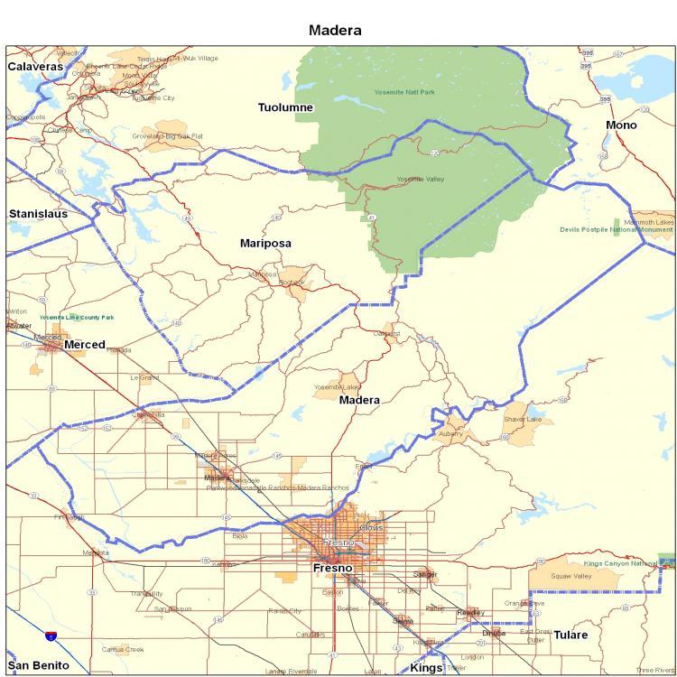 Madera County, CA | California Maps - Map of California ... on sonoma coast california map, fresno county, calaveras county, new cuyama california map, kelseyville california map, stevinson california map, chula vista california map, tuolumne county, burson california map, santa cruz county, hyampom california map, woodlake california map, san jose ca on california map, mountain ranch california map, visalia california map, humboldt county, orange county, bass lake, california, mckittrick california map, alamitos california map, nevada county, butte county, le grand california map, mammoth mountain, north fork, blue canyon california map, merced county, kings county, san nicolas island california map, santa rita hills california map, vallecito california map, sugar pine california map, tulare county, mariposa county, loyalton california map,
