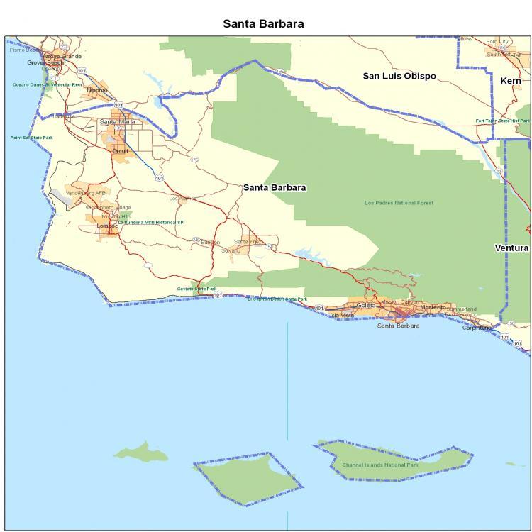 Santa Barbara California Map.Santa Barbara County Ca California Maps Map Of California