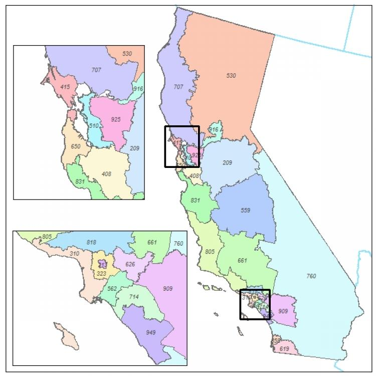 area code map. California Area Code Maps