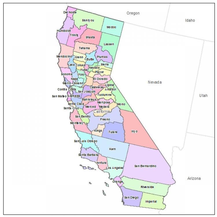 California Couty Map With County Name California Maps Map Of - California map major cities