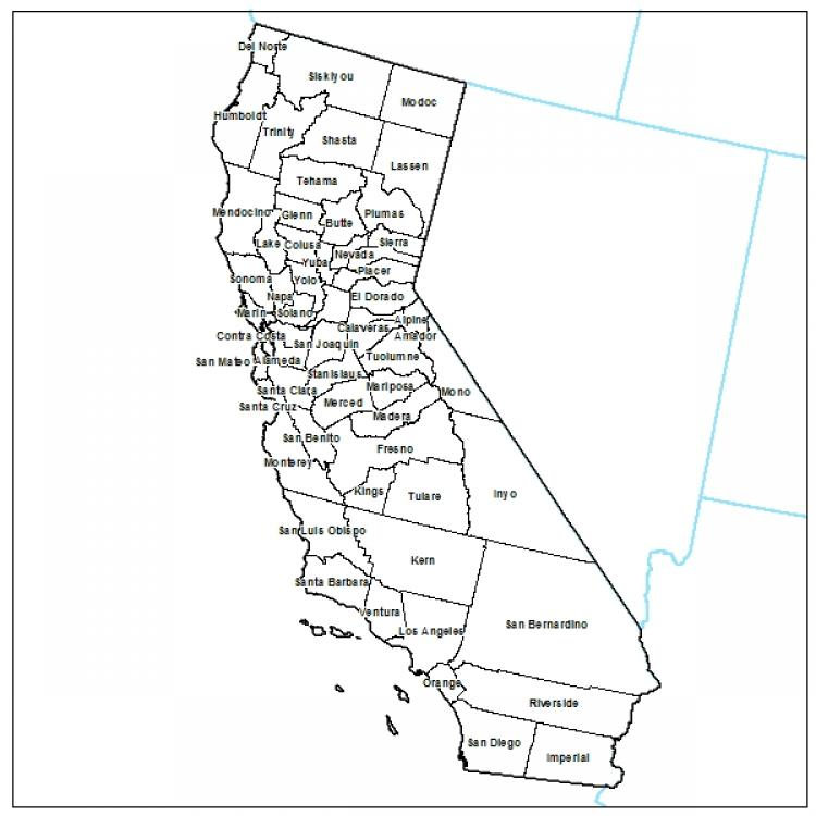 graphic relating to Printable California Map identify California Priantable County Map California Maps - Map of